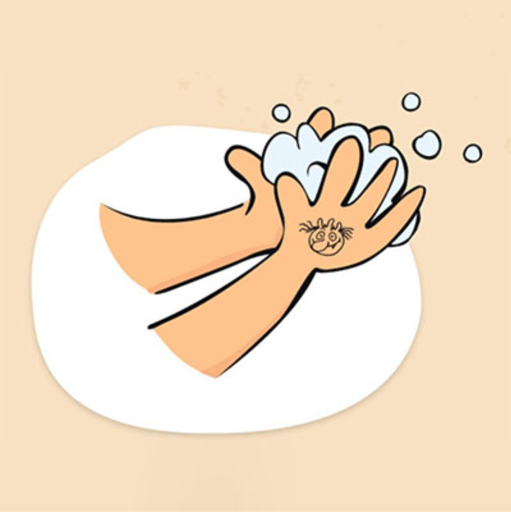 Morgens wird der Olchi auf die Hand gestempelt. Im Laufe des Tages werden die Hände gründlich gewaschen bis der Olchi verschwunden ist.