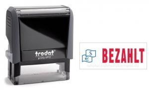 4912 Trodat Office Printy BEZAHLT mit roten Schriftzug und blauen Symbol