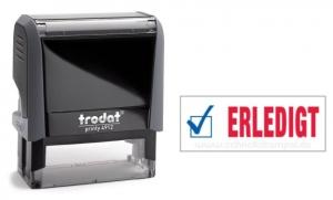4912 Trodat Office Printy ERLEDIGT mit roten Schriftzug und blauen Symbol