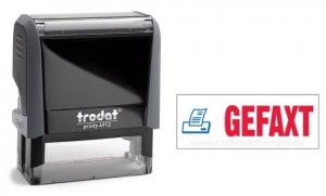 4912 Trodat Office Printy GEFAXT mit roten Schriftzug und blauen Symbol
