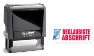 4912 Trodat Office Printy BEGLAUBIGTE ABSCHRIFT mit roten Schriftzug und blauen Symbol