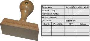 Holzstempel 60x90 Rechnung Weiterbelastung 2 -Abdruckgröße 57 x 88 mm
