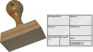 Holzstempel Buchung -Abdruckgröße 47 x 68 mm