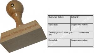 Holzstempel Buchung Datum Gegenkonto Kostenstelle -Abdruckgröße 47 x 68 mm