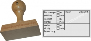 Holzstempel Buchhaltungsstempel Rechnungsprüfung -Abdruckgröße 38 x 67 mm