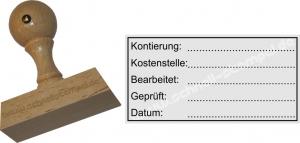 Holzstempel Kontierung Kostenstelle Bearbeitet -Abdruckgröße 29 x 59 mm