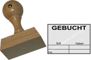 Holzstempel 35x50 Gebucht Soll Haben Kostenstelle