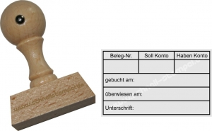 Holzstempel 30x50 Gebucht Belegnummer Sollkont Habenkonto