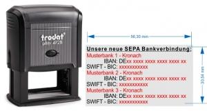 4928 Trodat Printy SEPA Stempel für 3. Bankverbindungen