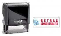 4912 Trodat Office Printy BETRAG DANKEND ERHALTEN mit roten Schriftzug und blauen Symbol