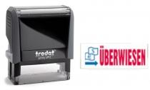 4912 Trodat Office Printy ÜBERWIESEN mit roten Schriftzug und blauen Symbol