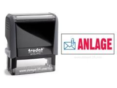 4912 Trodat Office Printy ANLAGE mit roten Schriftzug und blauen Symbol
