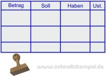 Holzstempel Buchung Betrag Soll Haben Umsatzsteuer -Abdruckgröße 34 x 69 mm