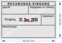5480 Trodat Professional Buchungsstempel Rechnung-Eingang geprüft, freigegeben zur Zahlung, am Datum verstellbar, Bemerkung, digitalisiert.